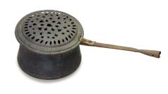 Kupferpfanne mit Siebdeckel