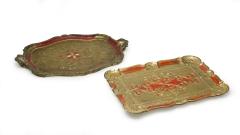 Holzserviertablett rot-gold