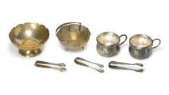 Zucker-Schalen und -Zangen Silber